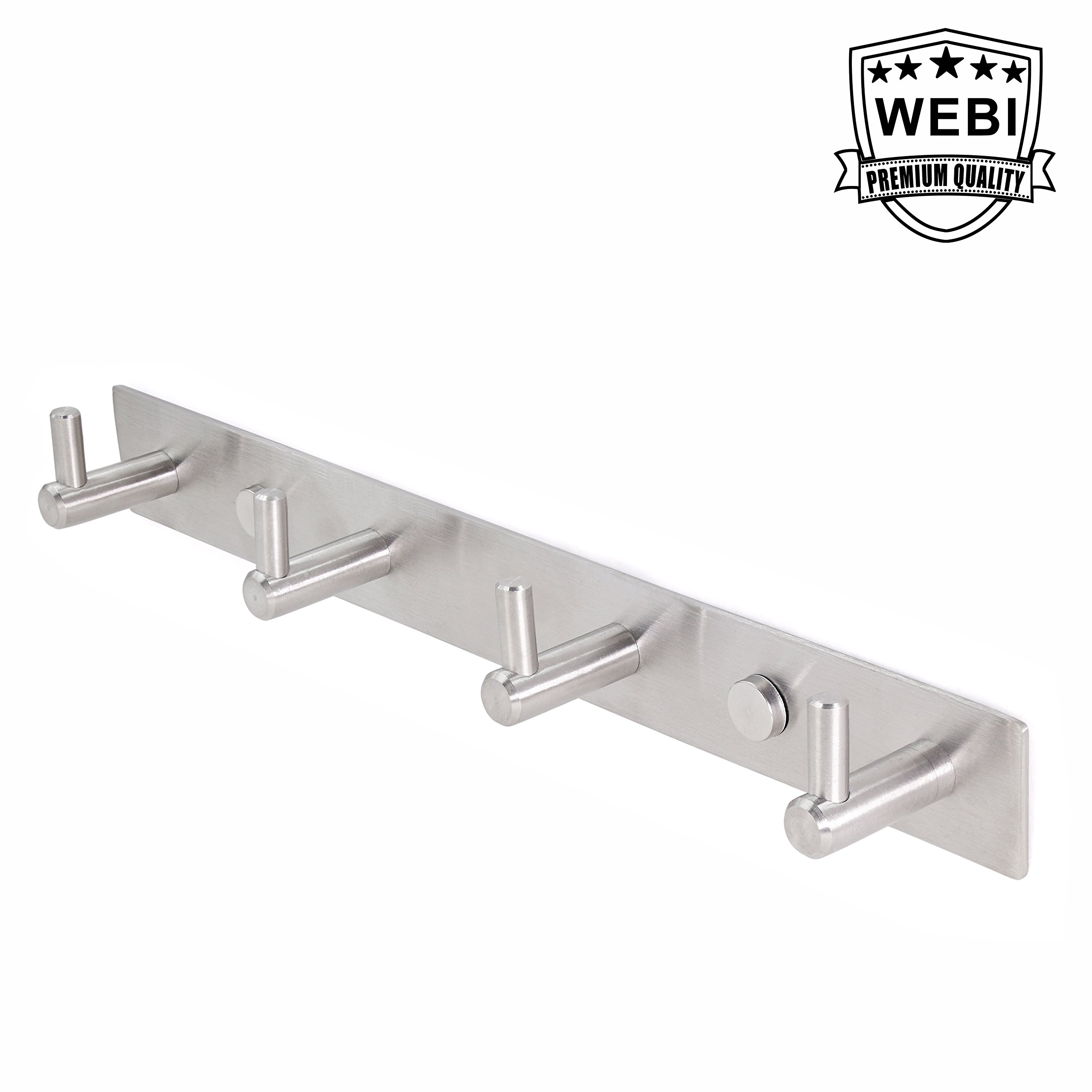 WEBI Heavy Duty SUS 304 Coat Bath Towel Hook Hanger Rail Bar with 4 Hooks, Brushed Finish, for Bedroom, Bathroom, Foyers, Hallways, Entryway, Great Home, Office Storage & Organization, L-YZ04 by WEBI