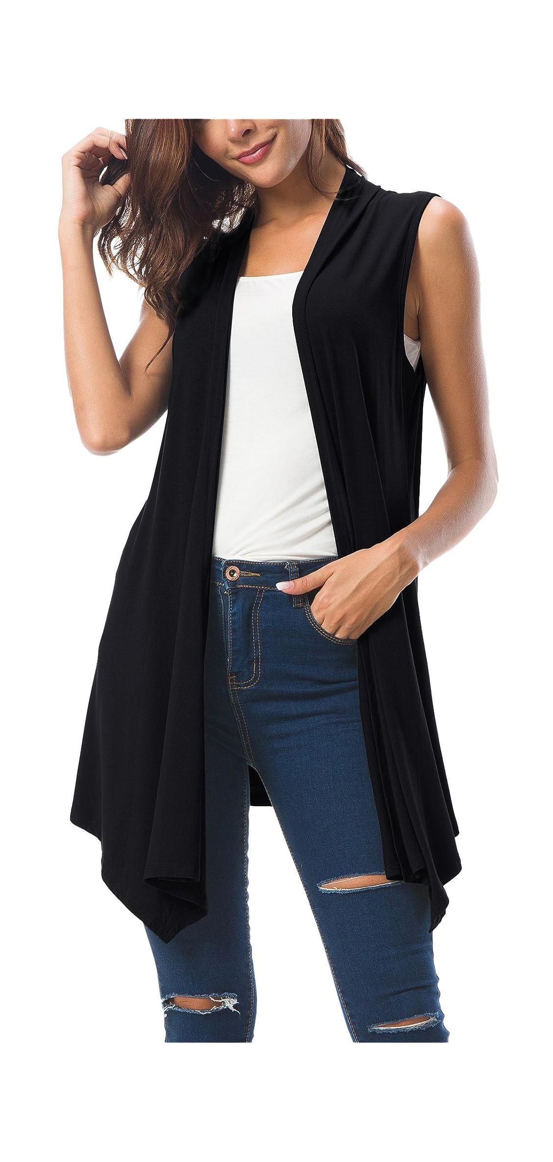 Women's Sleeveless Draped Open Front Cardigan Vest Asymmetric