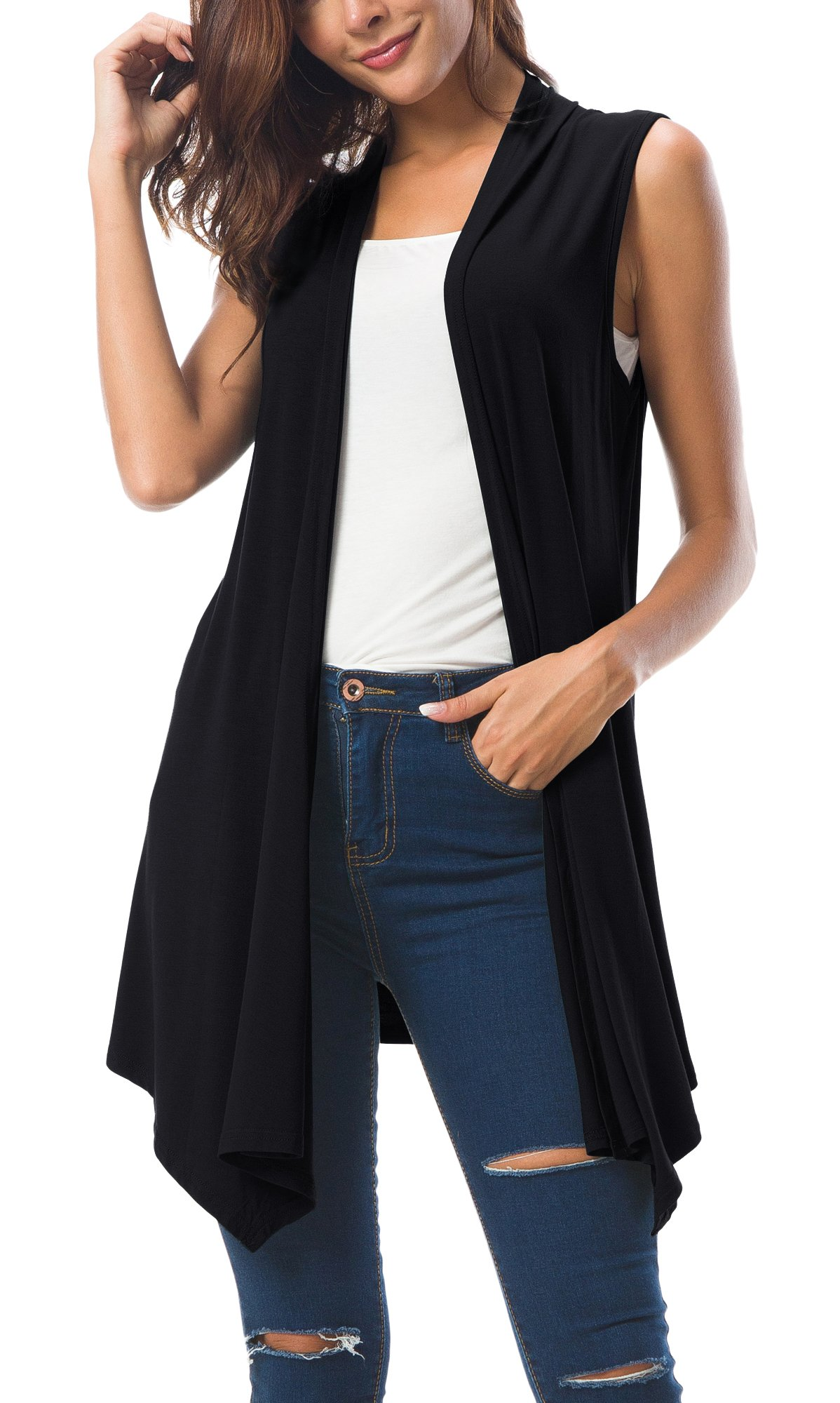 Urban CoCo Women's Sleeveless Draped Open Front Cardigan Vest Asymmetric Hem (L, Black)