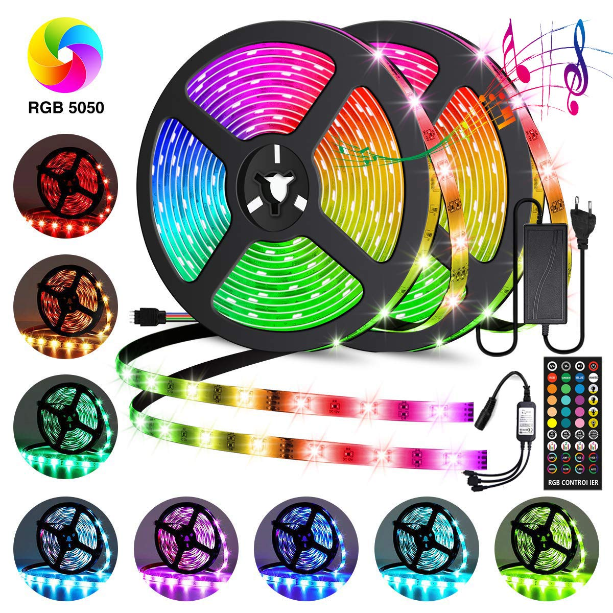 Led Strip Lights, Wrrlight 32.8ft 300LEDs SMD5050 Waterproof Music Lights RGB Rope Lights Flexible LED Strips Kit for Home Kitchen Bar,Color Changing Led Strip with 3M Adhesive,12V/5A Power Supply