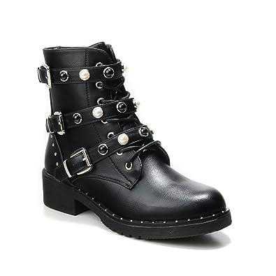 HERIXO Damen Schuhe Stiefeletten Schnallen Verzierung Perlen Nieten Flache Reissverschluss halbhoche Schnürboots Schnürer Mil