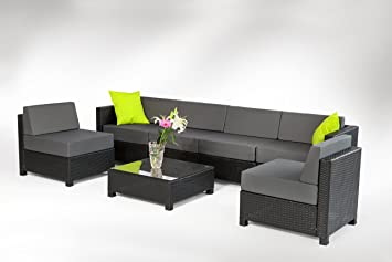 Amazon.com : MCombo 7 Piece Luxury Black Wicker Patio Sectional ...