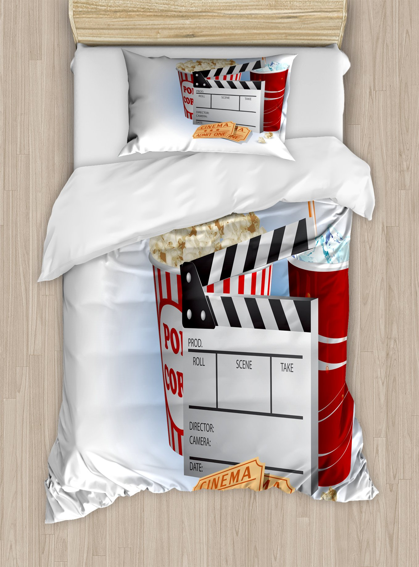 Ambesonne Movie Theater Twin Size Duvet Cover Set, Soda Tickets Fresh Popcorn and Clapper Board Blockbuster Premiere Cinema, Decorative 2 Piece Bedding Set with 1 Pillow Sham, Multicolor