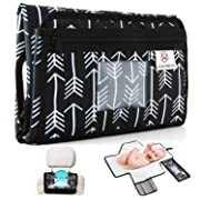 Zeroway Travel Changing Station Kit – Portable Diaper Changing Pad with Front Wipe Pocket – Extra Large Smart Changing Kit – Best Baby Shower Gifts (Withe Arrow)