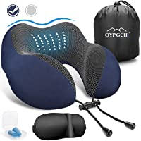 OYRGCIK Travel Pillow, 100% Pure Memory Foam Neck Pillow, Soft & Breathable Cotton Cover, Machine Washable Airplane Travel Kit U Shaped Pillow with 3D Contoured Eye Mask, Earplugs, Travel Bag