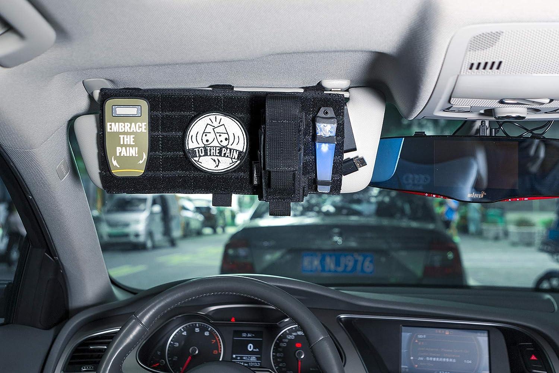 1T OneTigris Sonnenblende Tasche Multifunktions Auto Nylon Organizer Aufbewahrungstasche mit MOLLE Bä nde fü r Tickets, Kreditkarten, Fü hrerschein (Schwarz)