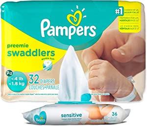 Pampers Swaddlers Disposable Preemie Diapers P-2 (32 Count) Bundle with 36 Pampers Sensitive Care Baby Wipes