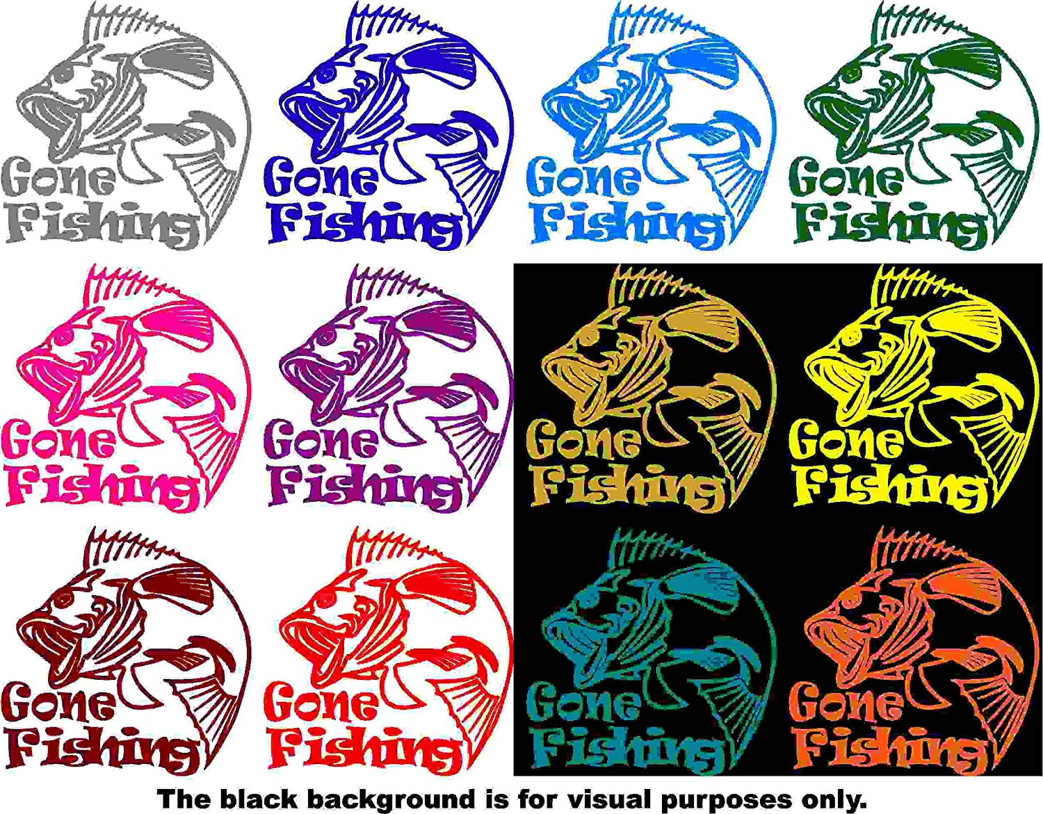 Sports Gone Fishing Bass Decal Sticker Vinyl Car Window Tumblers Wall Laptops Cellphones Phones Tablets Ipads Helmets Motorcycles Computer Towers V and T Gifts