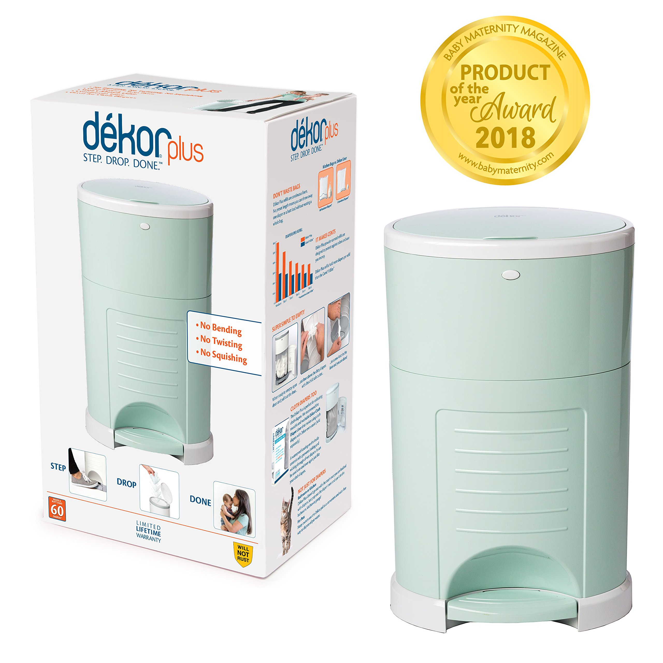 Dekor Plus Hands-Free Diaper Pail | Easiest to Use | Just Step. Drop. Done! | Pail Won't Absorb Odors/Rust | 20 Second Bag Change | Most Economical Refill System | Great for Cloth Diapers | Soft Mint by DEKOR (Image #1)