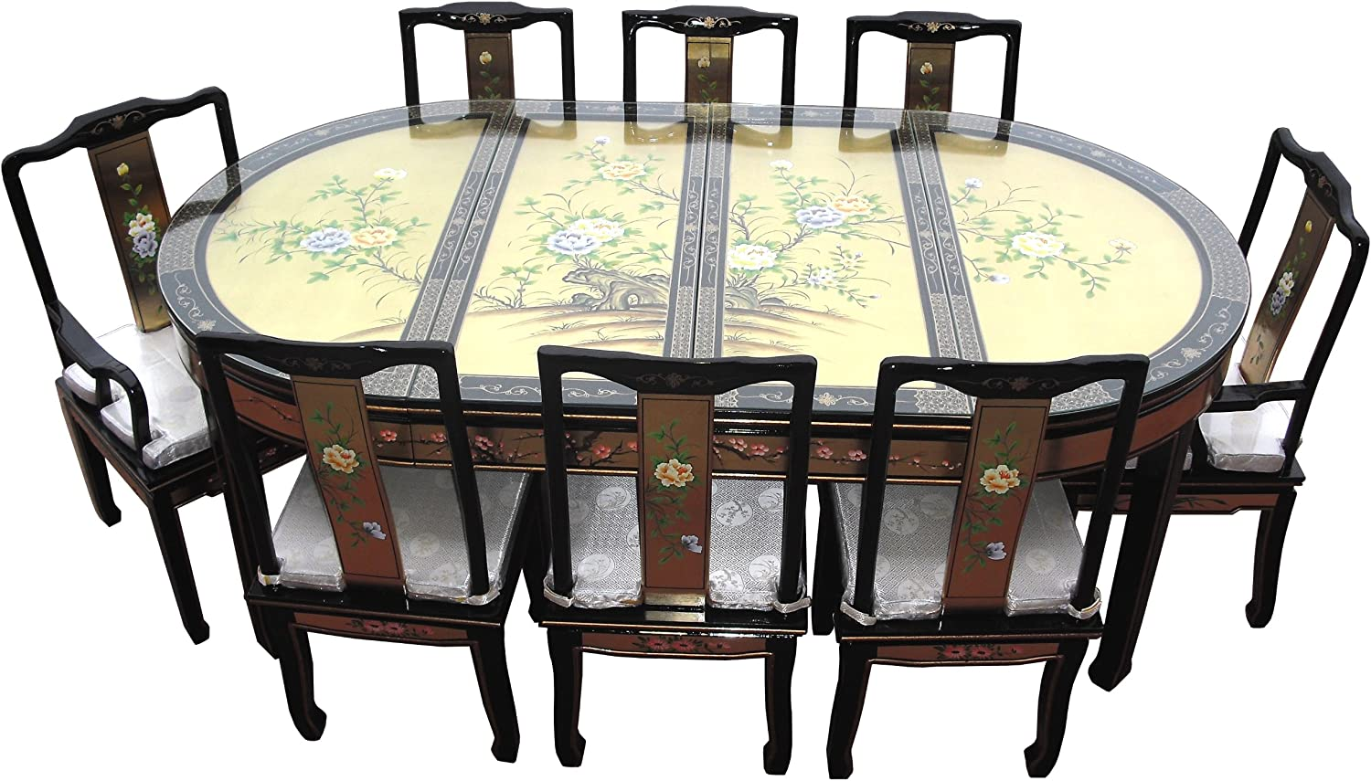 Chinese Oriental Furniture Genuine Gold Leaf 8 Seater Dining Table Set Amazon Co Uk Kitchen Home