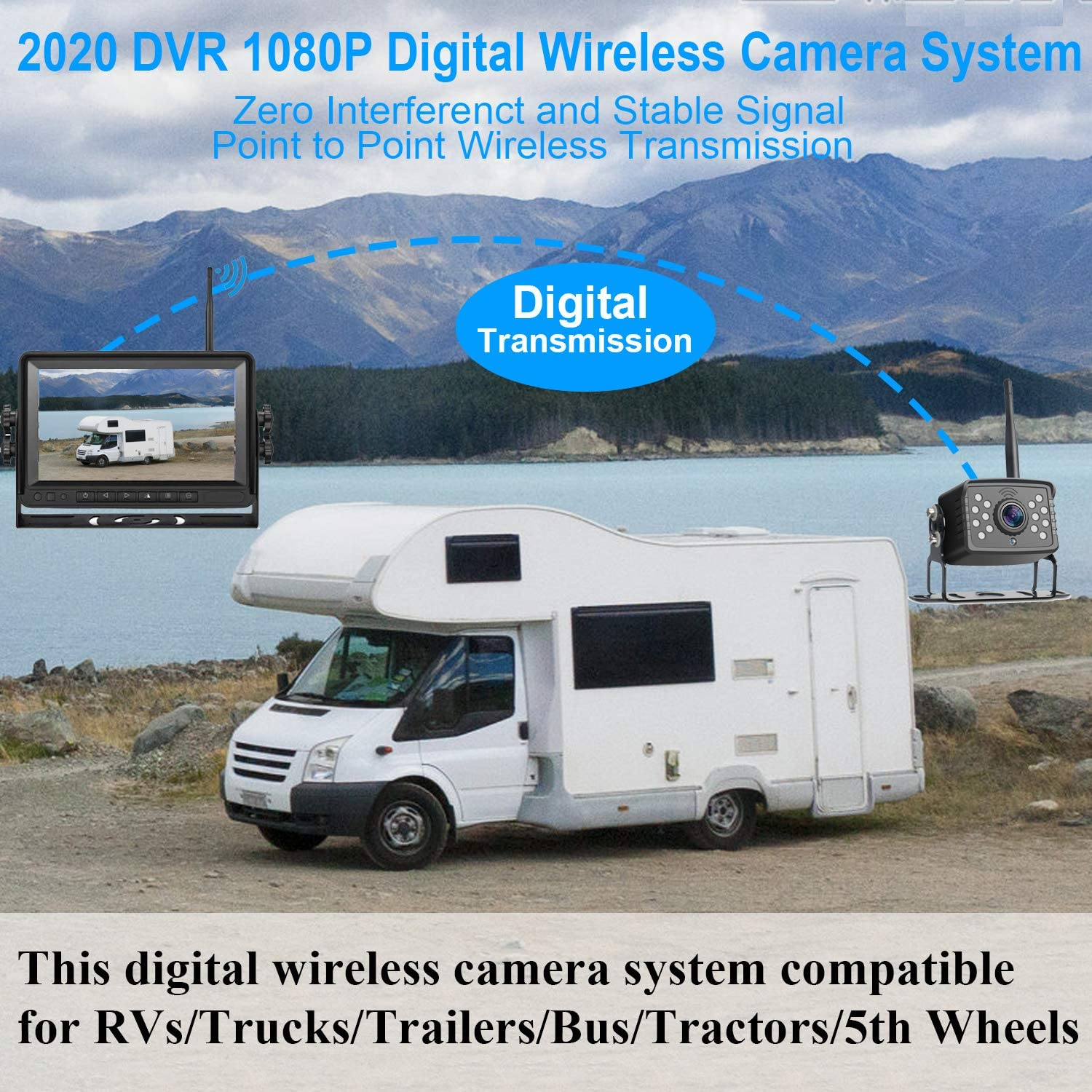 LeeKooLuu HD 1080P Digital Wireless Rear View 2 Cameras for RVs,Trailers,Bus,Motorhome,5th Wheels,Campers with 7 DVR Monitor High-Speed Observation System Super Night Vision IP69 Waterproof