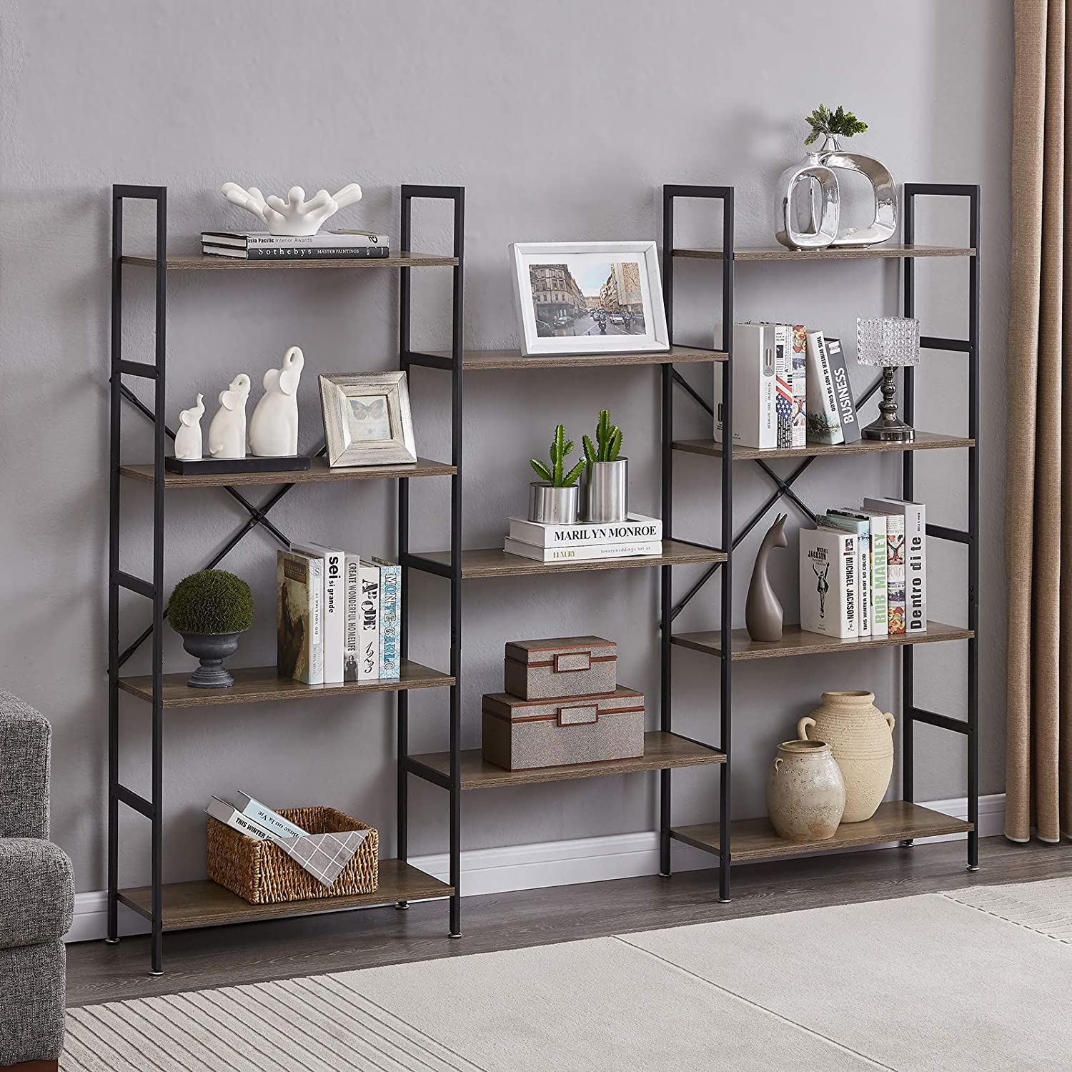 Superjare Triple Wide 4-Tier Bookshelf, Rustic Industrial Style Book Shelf, Wood and Metal Bookcase Furniture for Home & Office - Vintage Brown