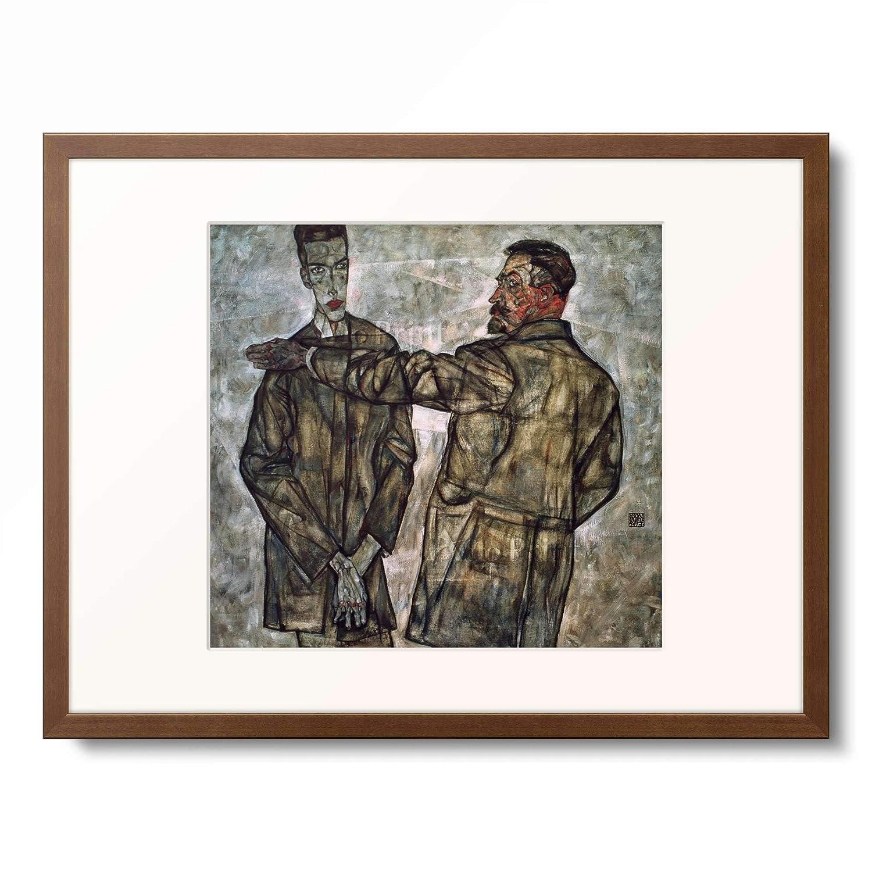 エゴンシーレ Egon Schiele 「Doppelbildnis Benesch」 額装アート作品 M(額内寸 379mm×288mm) 11.木製額 13mm(茶) B07P3HSVL4
