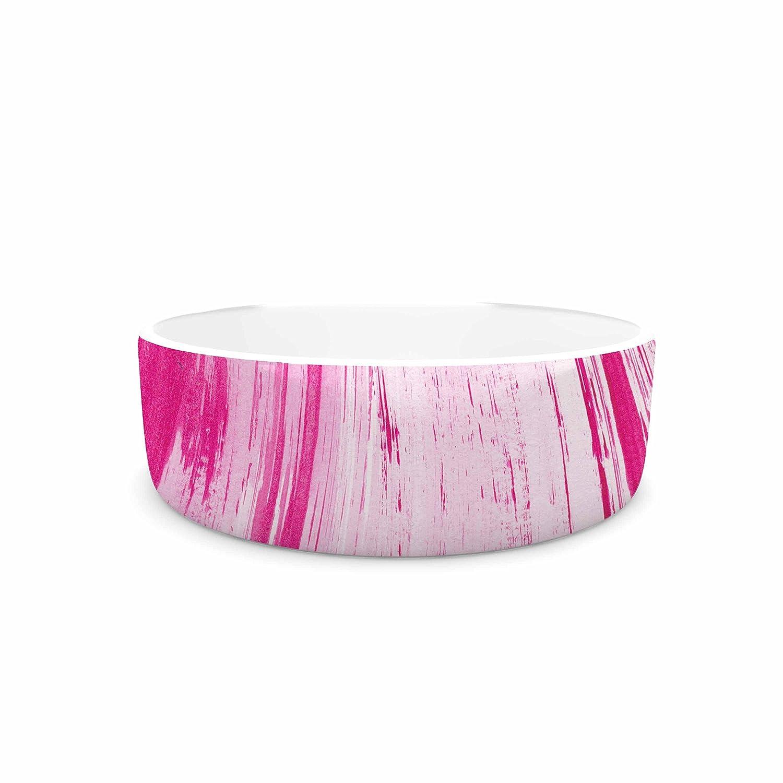 KESS InHouse Danii Pollehn Pink Stripes Pink White Watercolor Pet Bowl, 7  Diameter