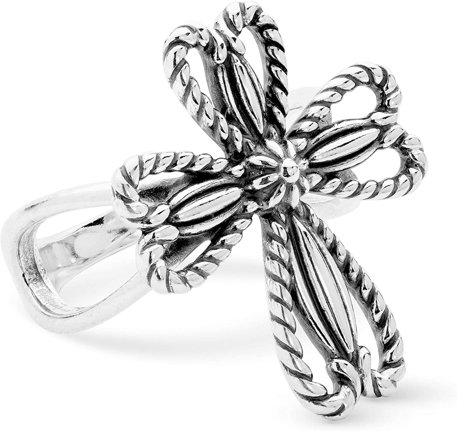 American West Sterling Silver Rope Heart Border Cross Ring Size 5 to 10