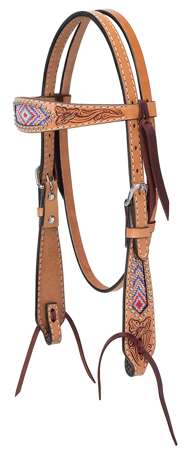 (Pony Browband Headstall) - Turquoise Cross Pink Beaded Collection   B06WRV6584