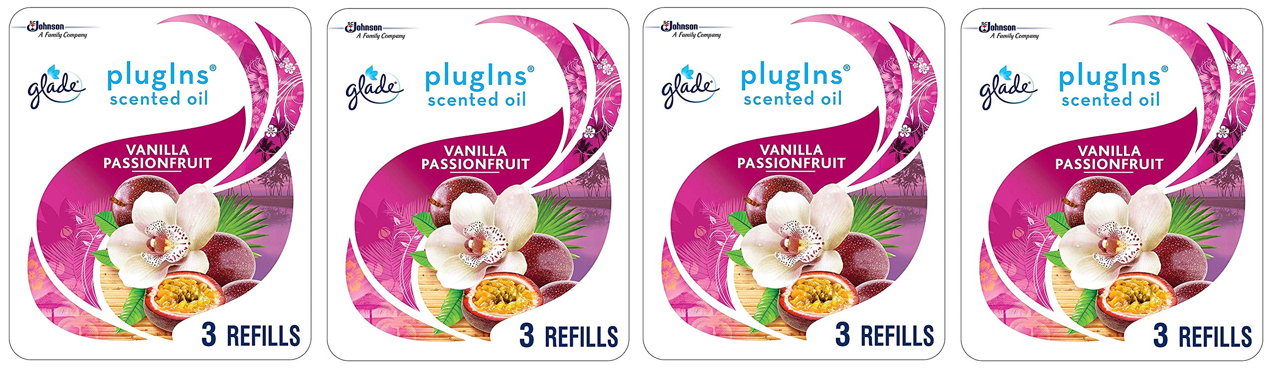 Glade PlugIns Scented Oil Refill Vanilla Passion Fruit, Essential Oil Infused Wall Plug In, Up to 50 Days of Continuous Fragrance, 2.01 FL OZ, Pack of 3 (Packaging May Vary) (Fоur Расk)
