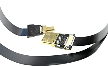 Long Soft Slim Thin FPV HDMI Cable Micro HDMI Male 90 Degree Angle to Standard HDMI Full HDMI for panasonic lumix GH4 blackmagic BMPCC Sony Alpha Sony A5000 A6000 A7S A7R 100CM Black
