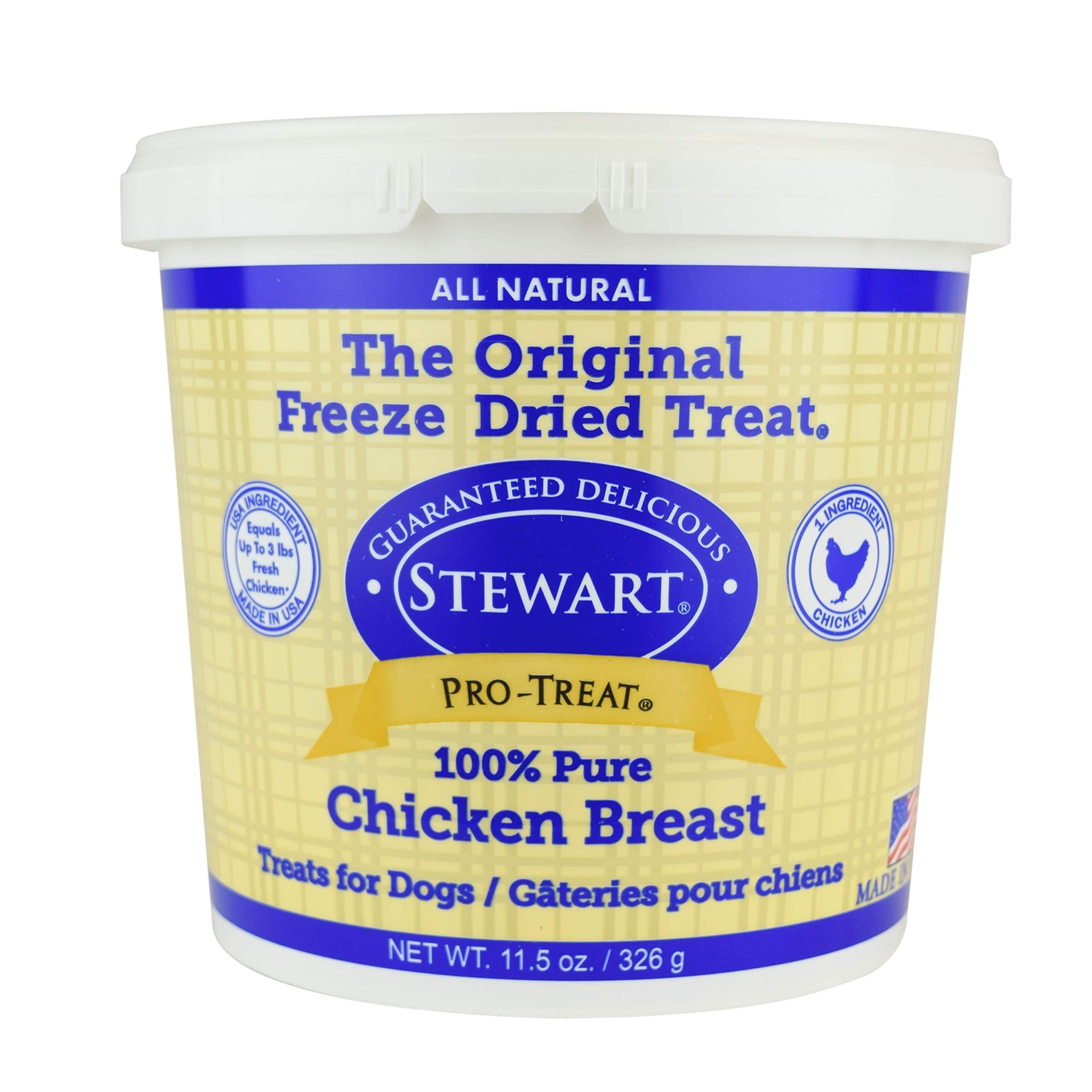Stewart Pro-Treat, Freeze Dried Chicken Breast Dog Treats, Single Ingredient, Grain Free, USA Made, 11.5 oz. Resealable Tub