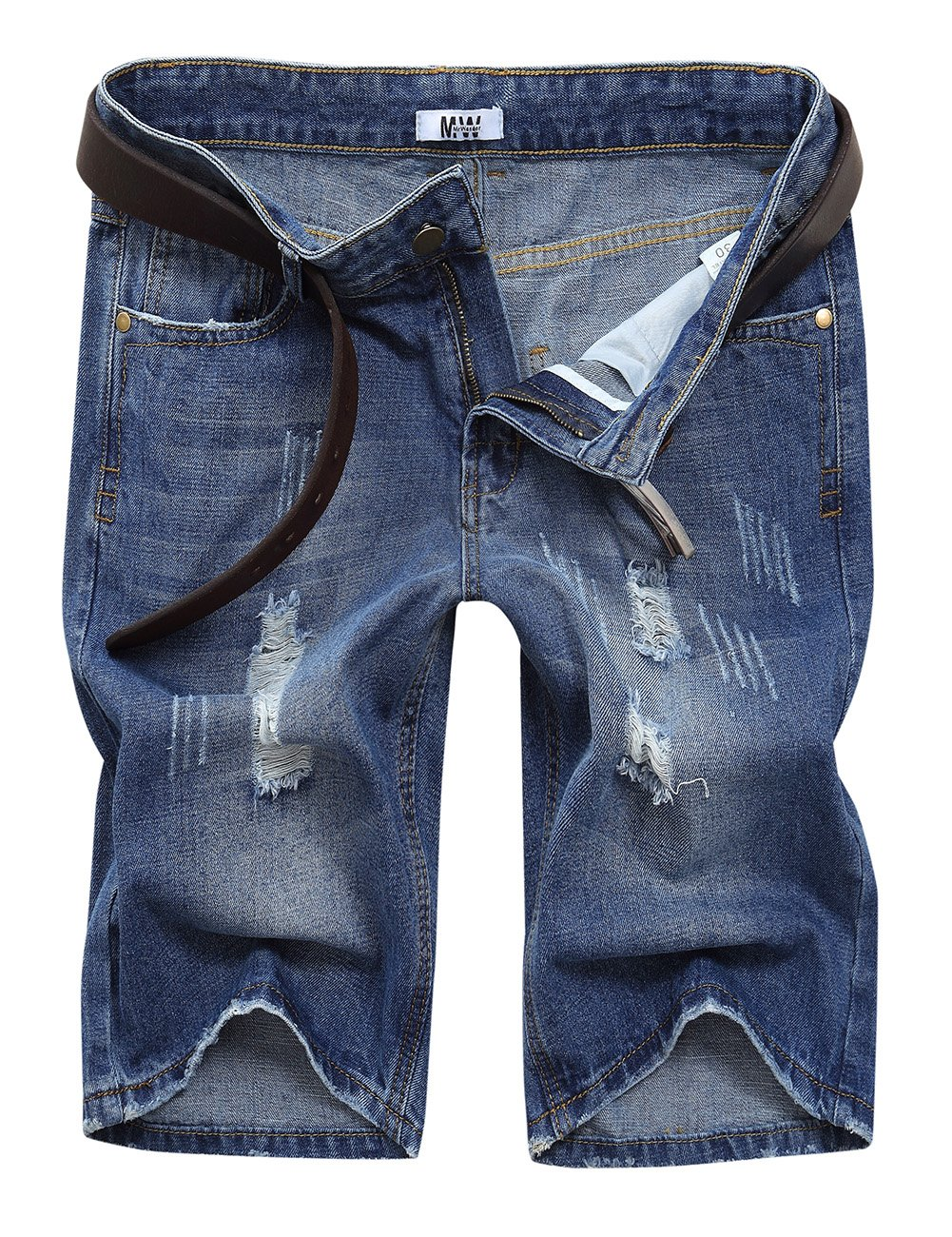 MrWonder Men's Fashion Ripped Distressed Straight Fit Denim Shorts with 5 Pockets Deep Blue 34