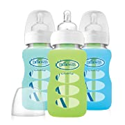 Dr. Brown's Options 3 Piece Wide Neck Glass Bottle in Silicone Sleeve, Green/Mint/Blue, 9 Ounce