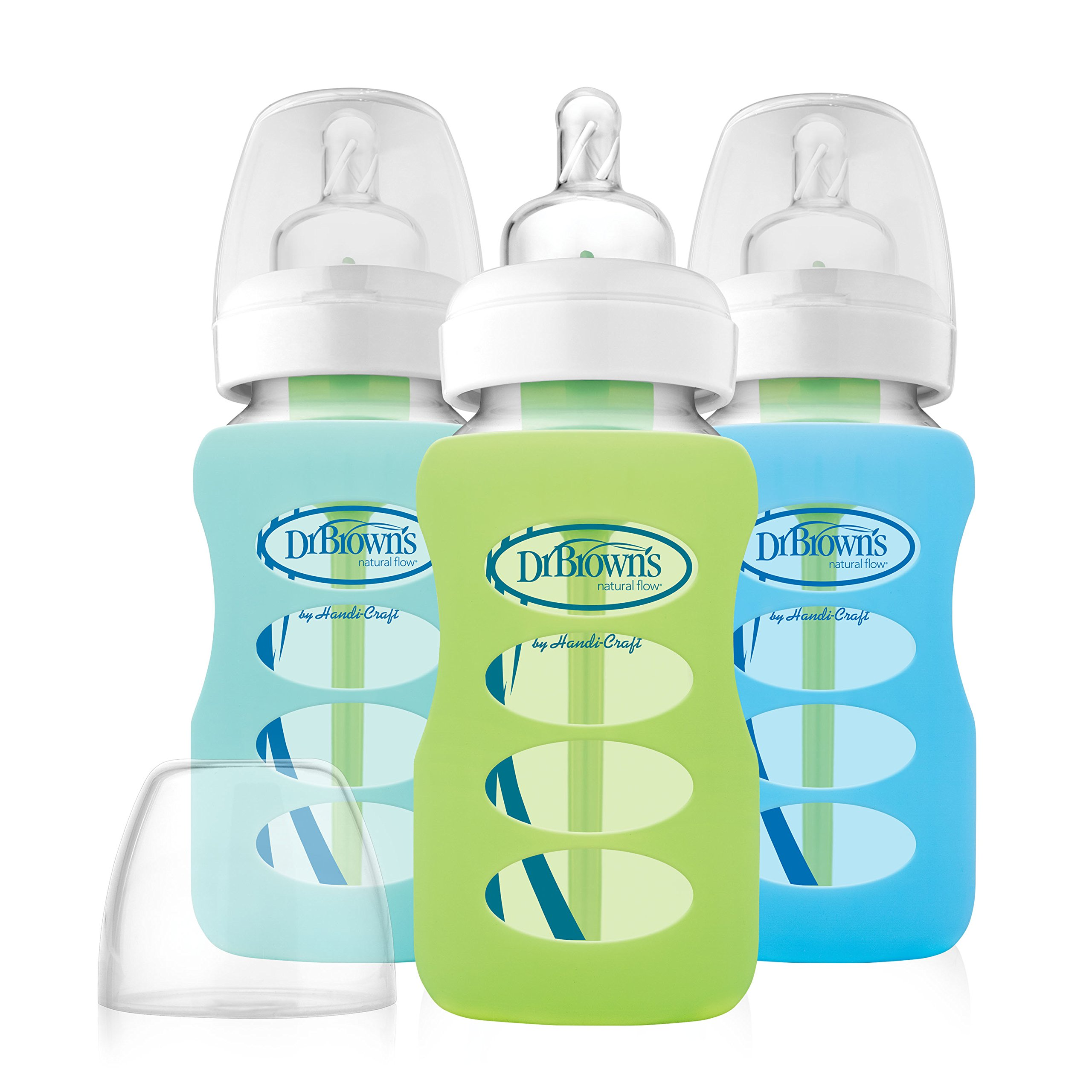 Dr. Brown's Options 3 Piece Wide Neck Glass Bottle in Silicone Sleeve, Green/Min