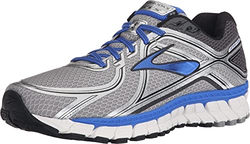 Brooks Men's Adrenaline GTS 16 Silver/Electric Brooks Blue/Black Sneaker 8 D