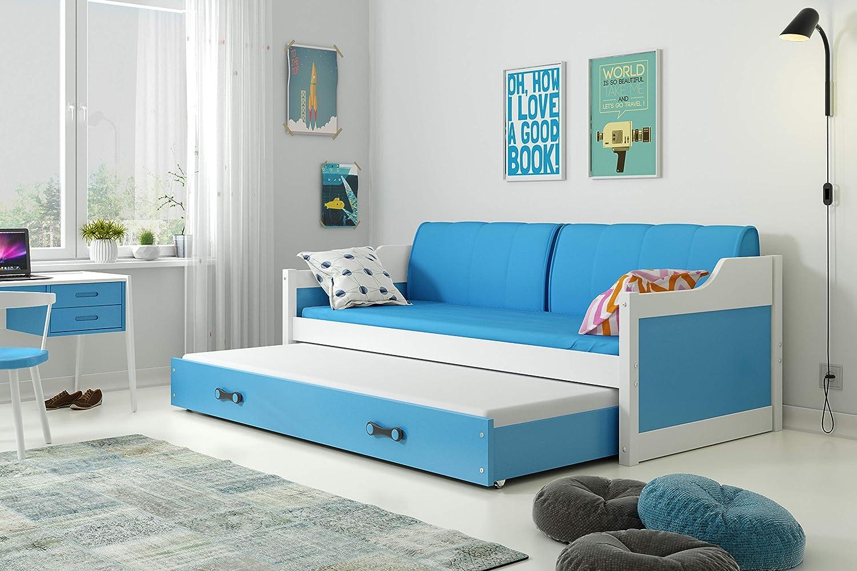 Matratzen und Kissen Interbeds Funktionsbett Doppelbett DAVID 190x80cm Fabre Wei/β mit Lattenroste blau