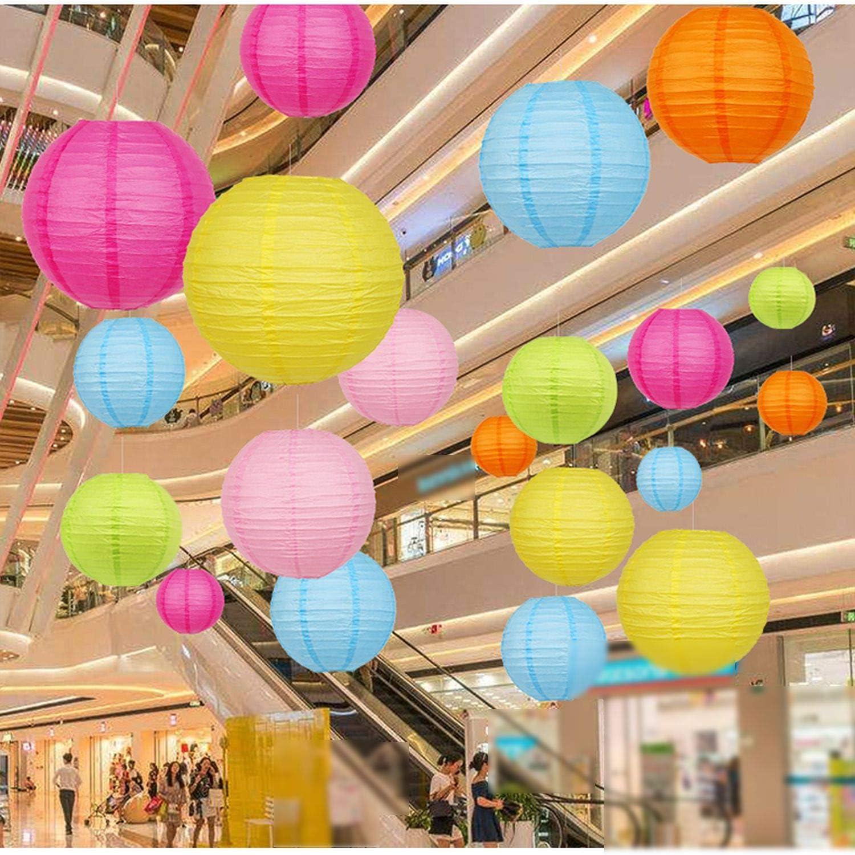 10 6 12 4 Tailles MEANTOBE Lanternes /à Papier Rondesrondes en Multicolore Fournitures de F/ête danniversaire de Mariage Favors Hanging Decoration 16 Pack 8