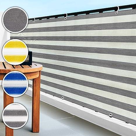 casa pura Balkon Sichtschutz UV-Schutz   90x500cm   wetterbeständiges und pflegeleichtes HDPE-Spezialgewebe   grau-weiß gestr