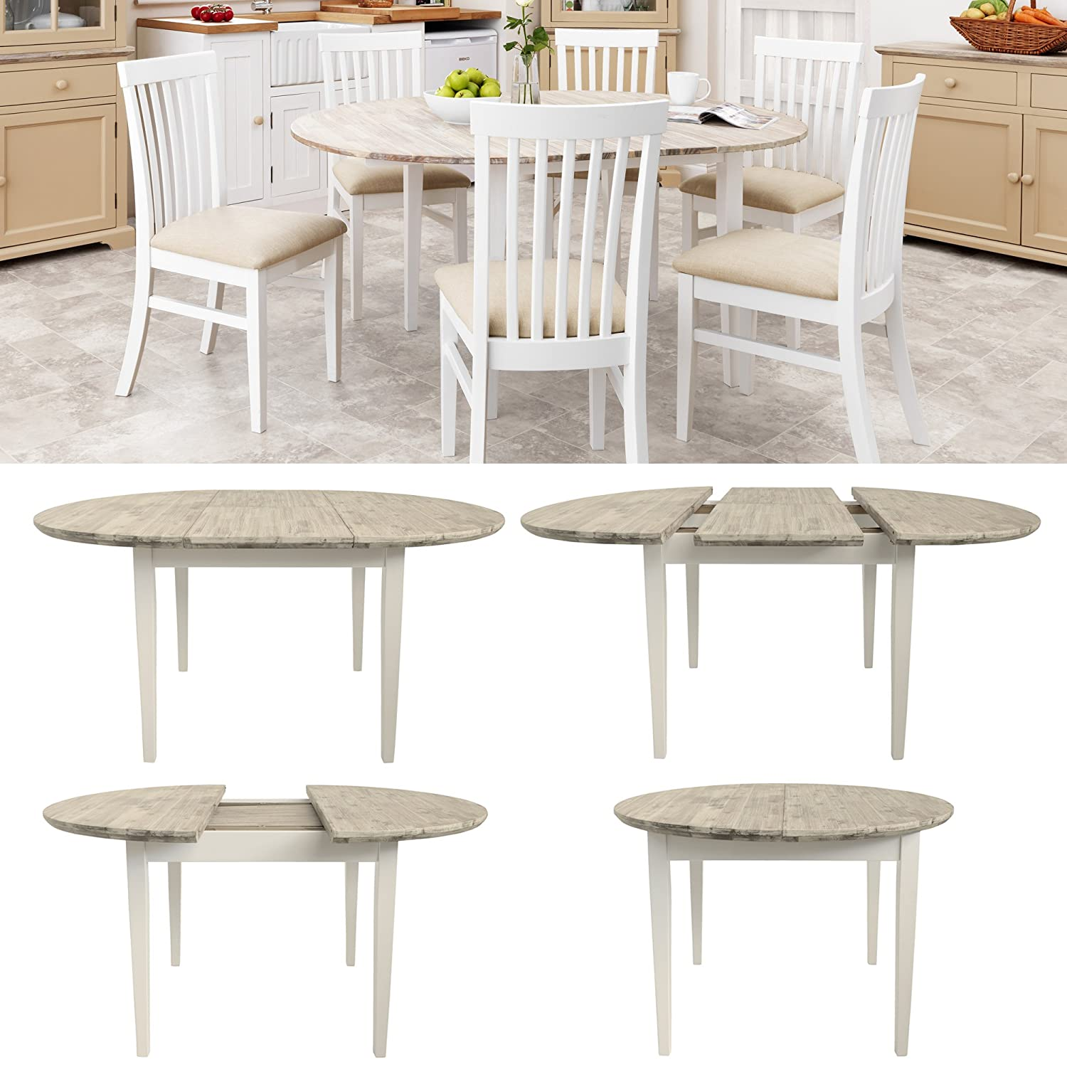Round Country Kitchen Table Rhode Island Extending Round Dining Table Amazoncouk Kitchen