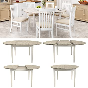 Florence large round  oval extended table. White kitchen table