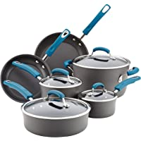 Rachael Ray Brights Hard Anodized Nonstick Cookware Pots and Pans Set, 10 Piece, Gray with Marine Blue Handles