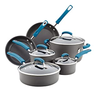 Rachael-Ray-87650-Brights-Hard-Anodized-Nonstick-Cookware-Pots-and-Pans-Set-10-Piece-Gray-with-Marine-Blue-Handles
