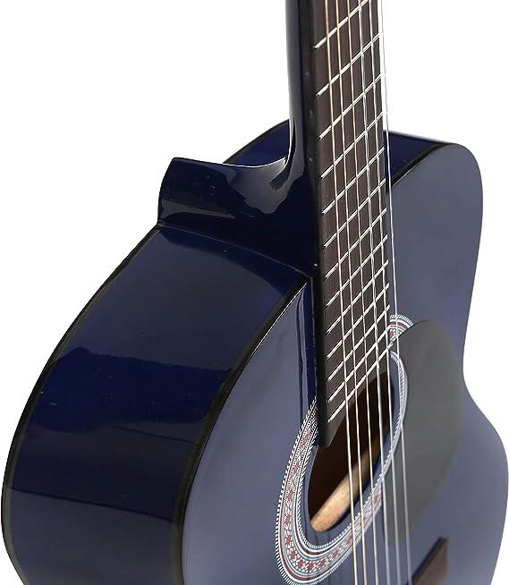 Guitarra acústica 3/4 (91,4 cm), pack de cuerdas de nailon para guitarra infantil clásica, color azul: Amazon.es: Instrumentos musicales