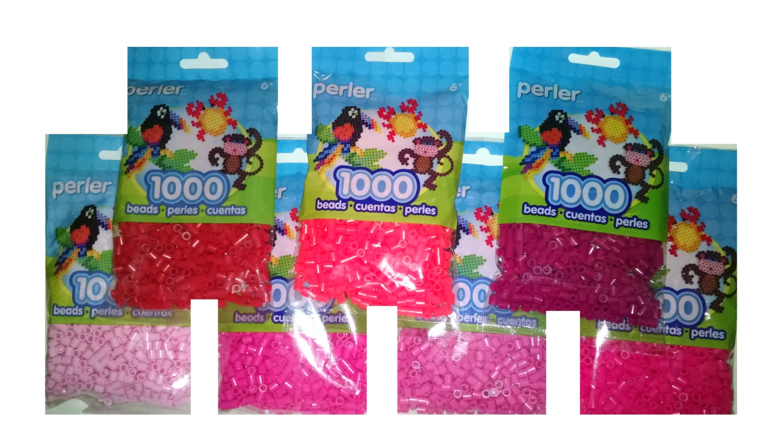 Perler Bead Bag, 7 Pack Group (Red, Pink, L. Pink, Raspberry, Bubble Gum, Magenta, Hot Coral )