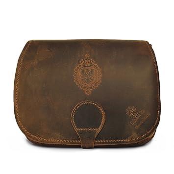 MANNA Cuero Nubuck bolso para dama con tres compartimientos, un compartimiento diseñado para tablet, así como 2 otros para: el monedero, maquillaje, ...