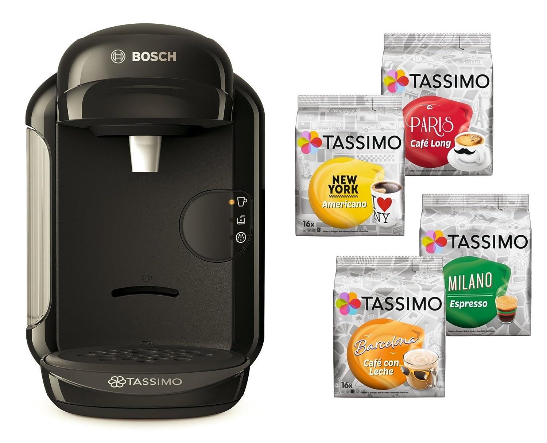 Bosch Tassimo Vivy 2 Cápsula eléctrica + 4 x T Discos de edición limitada heißgetr änke goteo Cafetera Eléctrica negro: Amazon.es: Hogar
