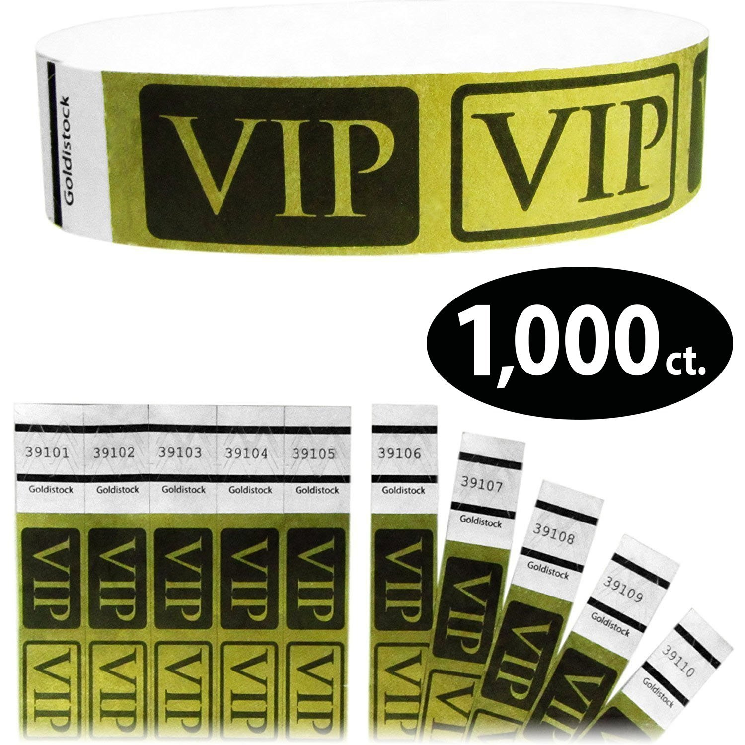 Tyvek Wristbands - Goldistock VIP Deluxe Metallic Gold 1,000 Count - ¾'' Arm Bands - Paper-Like Party Armbands - Heavier Tyvek Wrist Bands = Upgrading Your Event by Goldistock