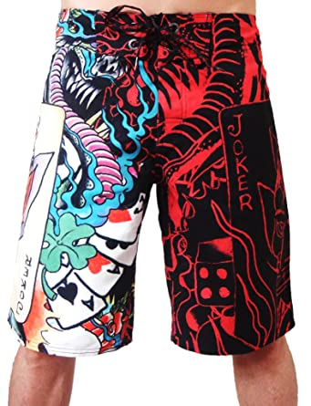 a82c4f794b Image Unavailable. Image not available for. Color: New Ed Hardy Men's Live  Once Joker Black Poly Board Shorts Swim Trunks EHM04OL (33