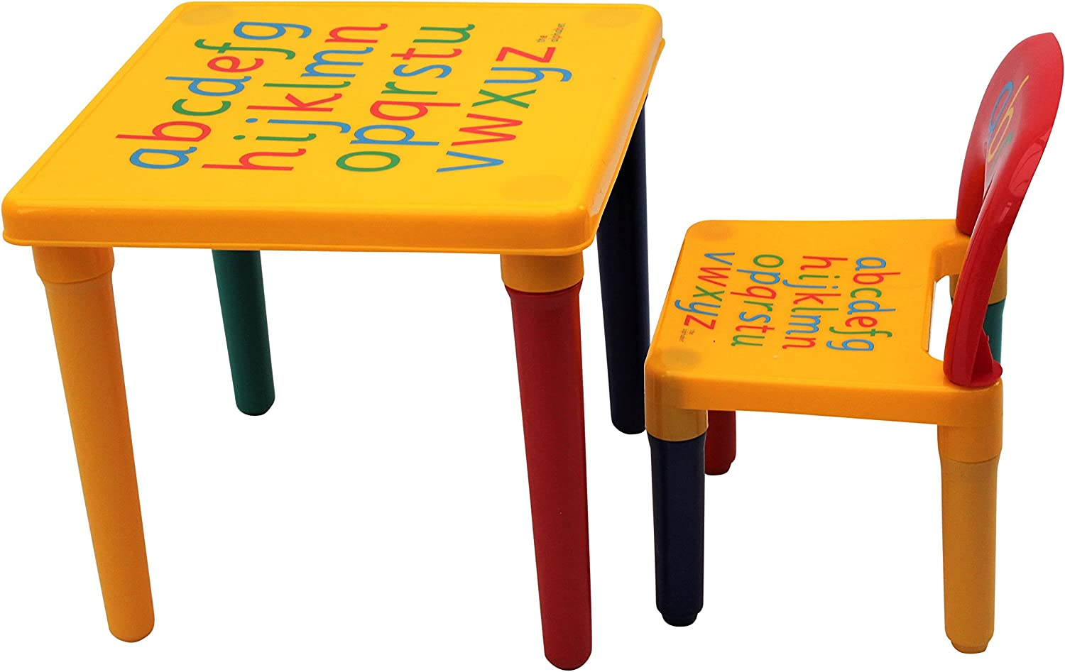 HomeStoreDirect /® ABC Alphabet Childrens Plastic Table and Chair Set Kids Toddlers Childs