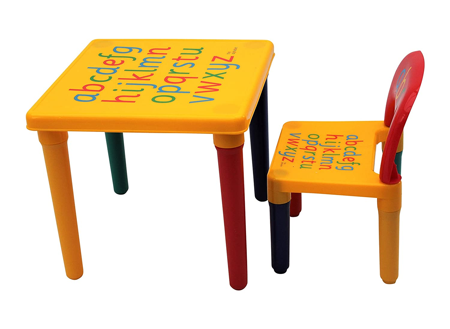 Table and Chair Set ABC Alphabet Childrens Plastic - Kids Toddlers Childs - Gift By HOME HUT® Home and Garden Products Ltd