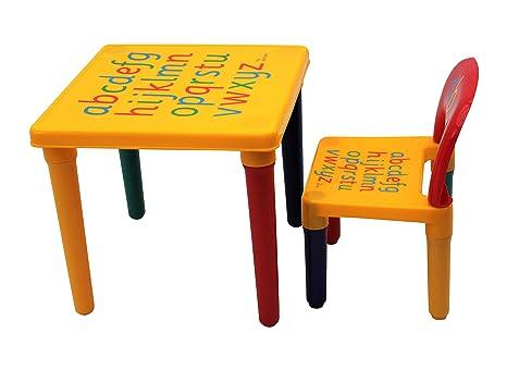 HOME HUT® - Juego de Mesa y Silla de plástico con abecedario, para niños