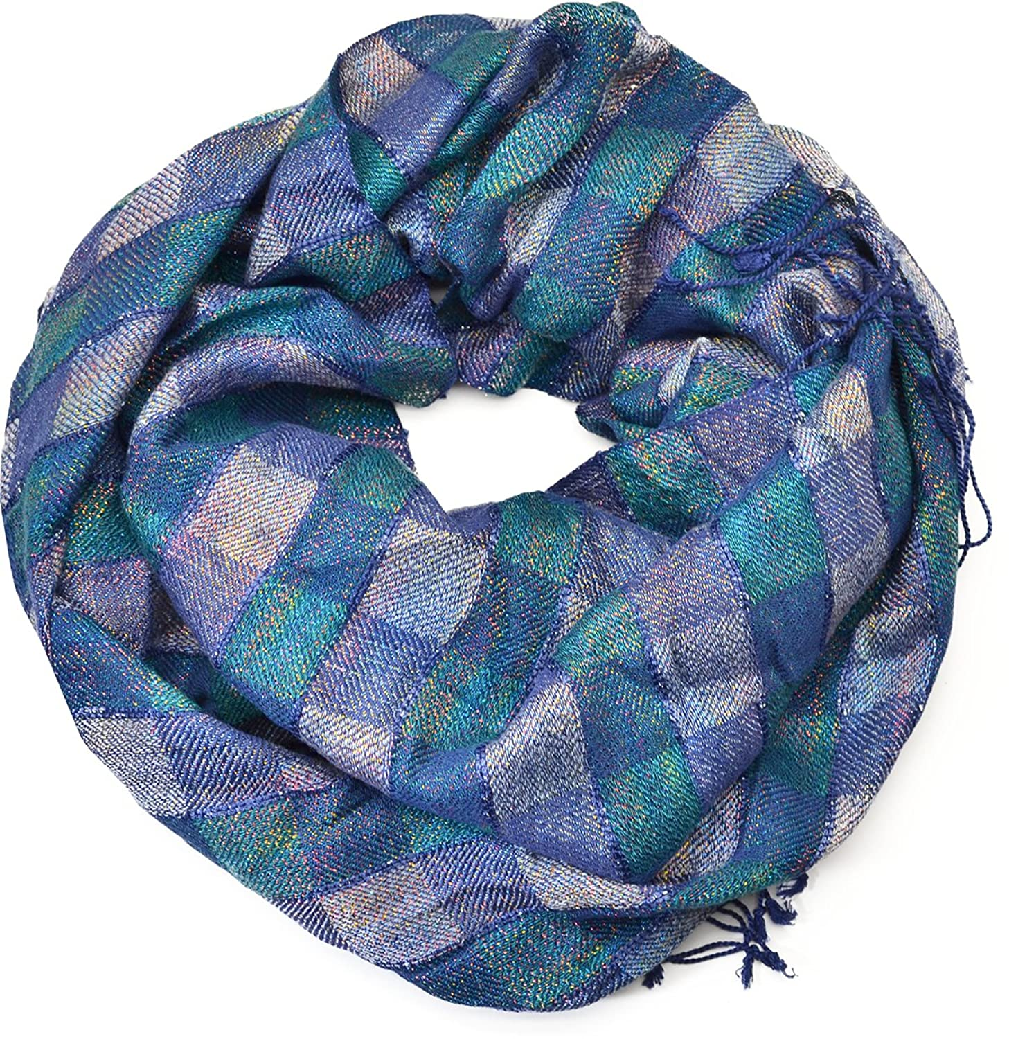 Cejon Womens Checkered Shine Navy Oblong Wrap / Scarf
