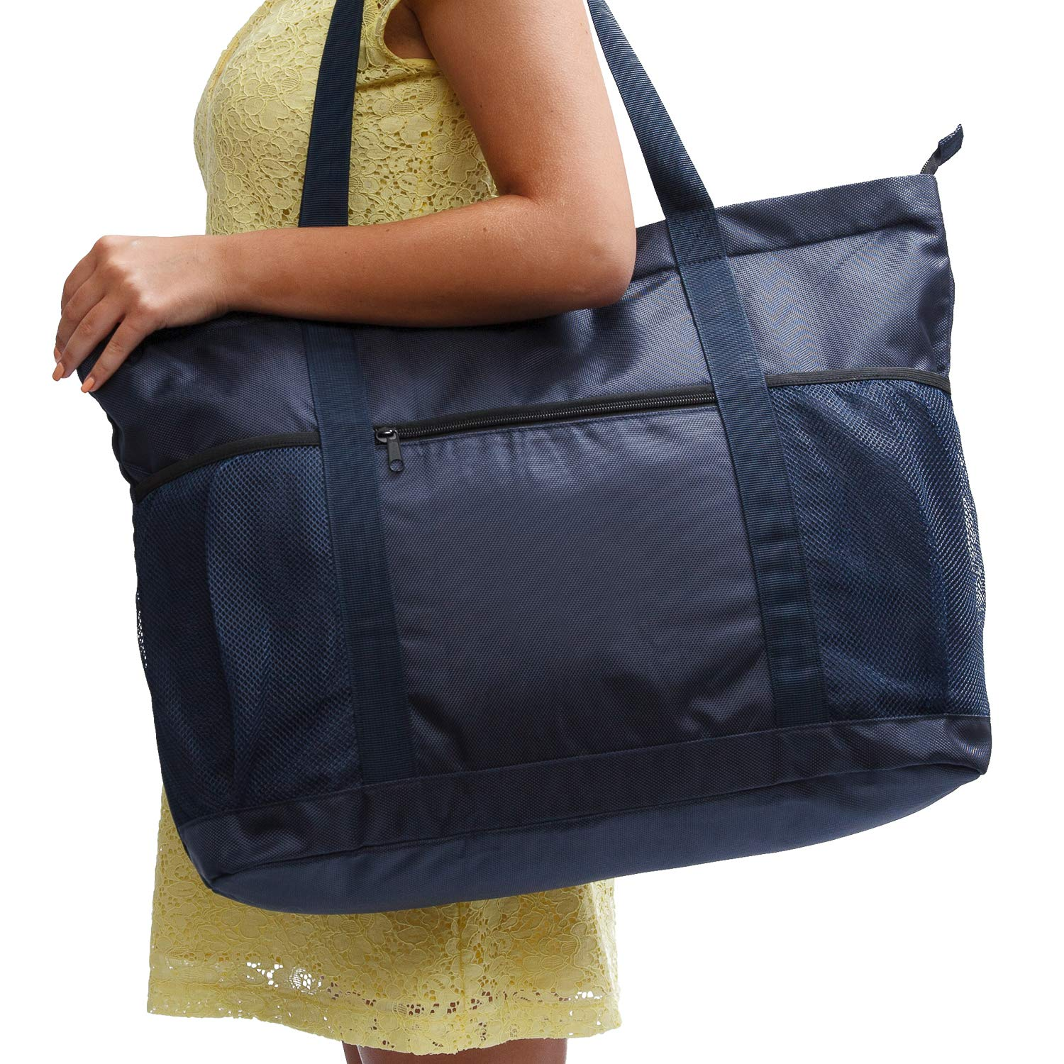 Large Beach Bag With Zipper - XL Foldable Tote Bag For Travel And Shopping - Large Tote Bag With Many Pockets (Dark Navy)