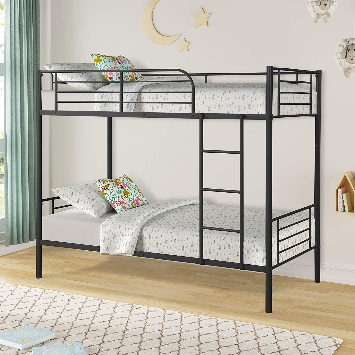Modern Style Solid Twin Over Twin Bunk Bed Metal Steel Beds with Ladder Black US
