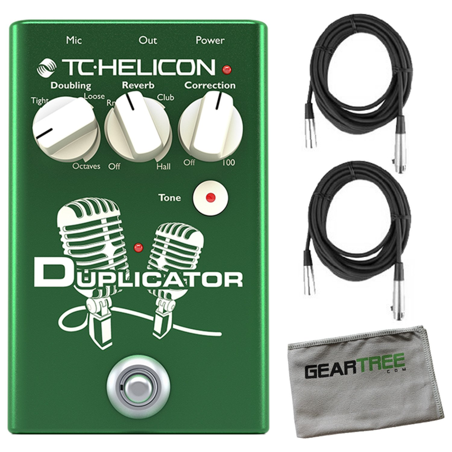 TC Helicon 996372001 TC Helicon DUPLICATOR Vocal Effects Pedal with XLR Cables and Zorro Sounds Cloth