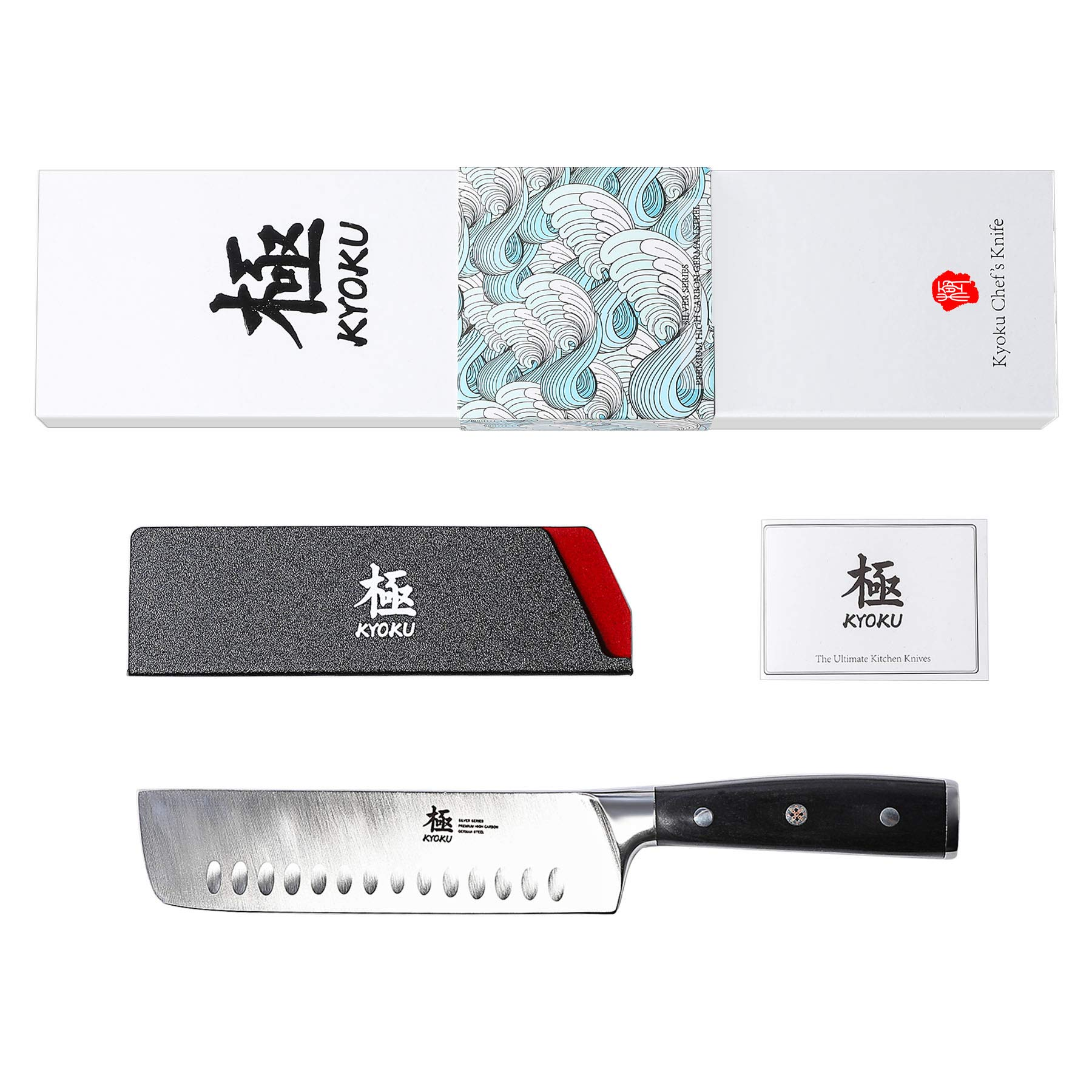 KYOKU Samurai Series - Nakiri Japanese Vegetable Knife 7'' with Sheath & Case - Full Tang - Japanese High Carbon Steel - Pakkawood Handle with Mosaic Pin by KYOKU (Image #6)