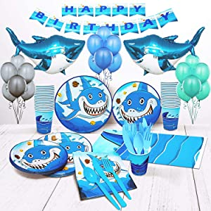 Shark birthday party supplies for boys set of 16 inflatable shark party decorations shark plates cups napkins balloons boy birthday decorations shark week shark décor