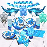 Shark birthday party supplies for boys set of 16 inflatable shark party decorations shark plates cups napkins balloons boy bi